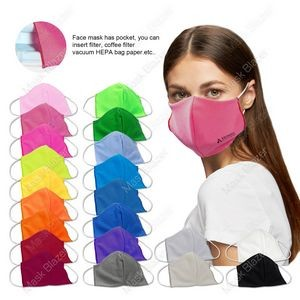 Pure Color 3D stereo profile Moisture Wicking Face Mask with Filter Pocket