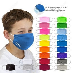 Kid's Pure Color 3D stereo profile Moisture Wicking Face Mask with Filter Pocket